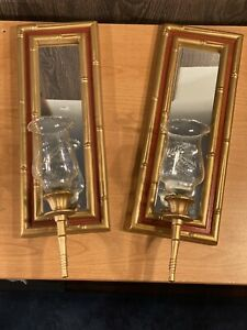 Vintage Faux Bamboo Mirror Wall Sconces Hollywood Regency Pair