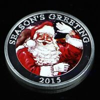 NEW Silver Plated Merry Christmas Santa Claus Commemorative Coin Collection Gift
