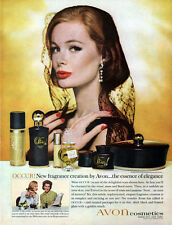 Avon Occur Cologne Fragrance MODEL W/ BLACK LACE MANTILLA Cosmetics 1963 Ad