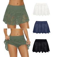 Ladies Womens Lace Crochet Skirted Bikini Bottom Swimsuit Short Skort Swim Skirt