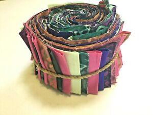 """NYMPHS IN FOREST40 pcs BALI  batik & solids Jelly Roll Bali Pop 2.5"""" wide Rolls"""