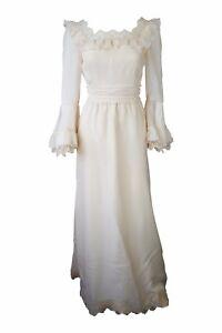 HARRODS Vintage Ivory Cotton Blend Wedding Dress (UK 8)