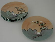 Vintage Set of 5 Salad Plates Hand Painted Swan Green Peach Lustre Made in Japan