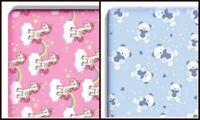 Printed Cot And Cot Bed Fitted Sheet 100%Cotton Jersey Bear Blue - Unicorn Pink