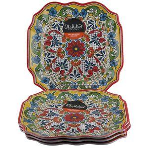 Il Mulino Spanish Medallion Floral Square Dinner Plates Melamine Set of 4 Red