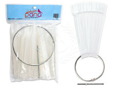 100 Pieces Clear Fan False Nail Tips Display w/Mental Ring Holder and Screw