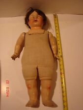 ANTIQUE COMPOSITION SHOULDER HEAD DOLL 21 IN TIN BLUE EYES OPEN MOUTH TOUNGE