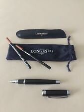Longines Genuine Rollerball Black and Silver Pen with leather and fabric covers