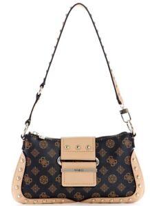 NEW GUESS Women's Greta Brown Logo Print Small Hobo Shoulder Baguette Handbag