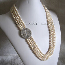 """Pearl Necklace A-10 Ac 24-27"""" 5-6mm White 4Row Freshwater"""