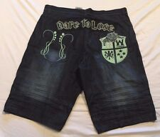 Big & Tall Mens Shorts 44 Blac Label Blue Denim Pockets Dark Wash Embroidered