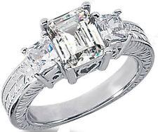 2 ct total Emerald & Princess cut Diamond Engagement Wedding 14k White Gold Ring