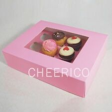 25 Pink Boxes of Window Cupcake Box with 12 Cupcake Holder($2.3 Per Set/per Box)