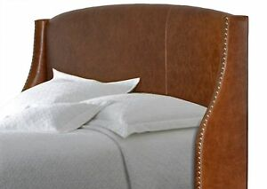 Queen size Genuine Distressed Brown Leather Wing headboard for Bed w/ Nail Heads