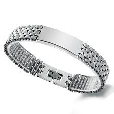 Polished Silver Tone Stainless Steel Biker ID Chain Bracelet for Men Boys*15MM