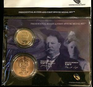 2013 WILLIAM & HELEN TAFT Presidential $1 Dollar Coin + First Spouse Medal Set x