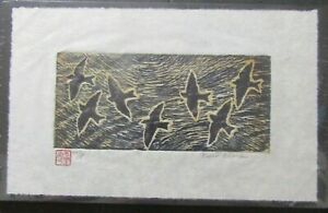 Swallow Bird Flock woodcut woodblock print Japanese moku hanga Washi signed