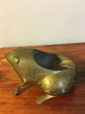 Vintage Brass Frog Cigarette Holder Ashtray Stamped