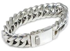 Mens Chunky Silver Bracelet Sterling 925 Heavy Woven Triangular Link - 3 lengths