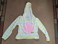 Justice girls long sleeve hooded yellow & white striped cropped Softball sz 12