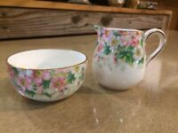 Antique Maytime Staffordshire Chintz creamer sugar set