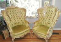 Pair of Victorian inspired Carved Wingback (parlor) Chairs