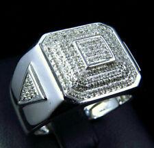 Square Men's Ring Pave Set Engagement Wedding Ring 2.1 Ct Diamond 14K White Gold