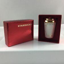 Starbucks SWAROVSKI 2015 Christmas Ornament Holiday White Embossed GOLD CAP NIB