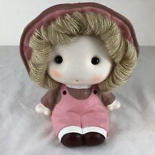 Little Pink Girl Piggy Bank Yarn Hair Coins Money Save Change Ceramic