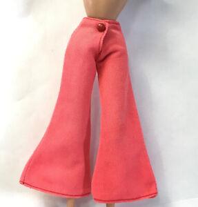 Vintage Barbie Skipper Doll Wide Bell Bottom Pants 70s Clone Bottoms Pink Coral