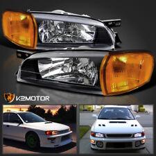 Fits 95-01 Subaru Impreza WRX JDM Black Headlights+Amber Signal Corner Lamps