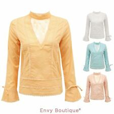 Party Patternless Long Sleeve Blouses for Women