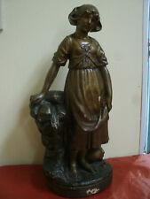 Antica Statua Scultura FANCIULLA BAMBINA Firmata Fratelli Cittì h 39 cm