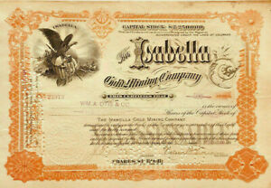 The Isabella Gold Mining Company > 1899 Colorado Springs stock certificate