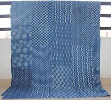 Patchwork Handmade Kantha Quilt 100% Cotton Queen Bedspread Indigo Vintage India