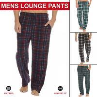 Mens Loungewear Pyjamas Lounge Pants Nightwear Fleece Striped Trousers Bottoms