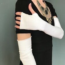Long White Gloves Cotton Arm Warmers with Thumb Holes Sun Protection UV Covers