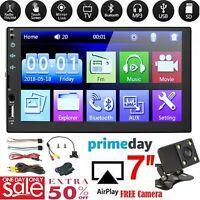 """7"""" 2 DIN Car Stereo Mp5 Player Touch Screen Bluetooth Radio Camera Wheel Control"""