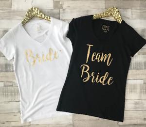 Bride or Team Bride T-shirt - Hen Party Bridal Shower Ladies Fit V-Neck T-Shirt