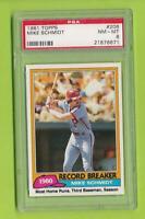1981 Topps Record Breaker - Mike Schmidt (#206) Philadelphia Phillies  PSA 8