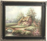 """Original Oil Painting On Ornate Silver/black Frame 20x24"""", Signed By Artist"""