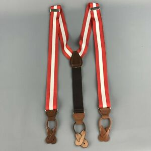 VINTAGE Red & White Ribbon Suspenders