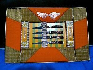 Barth & Dreyfuss of California Bamboo Placemat Steak Knives Linen Napkin Set NIB