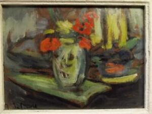 Indistinctly Signed French Impressionist Antique Still Life Oil Painting 1938