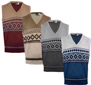 Mens Argyle V Neck Sleeveless Sweater Jumper Tank Top Jersey Golf Casual S-XXL