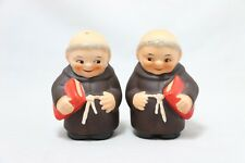RARE! GOEBEL FRIAR TUCK MONK SALT & PEPPER SHAKERS W/ RED BIBLE TMK4 W GERMANY