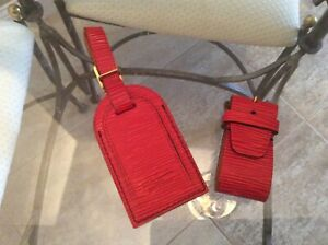 LOUIS VUITTON EPI Line STRAP HOLDER/Address Tag for KEEPALL/BANDOULIERE Red