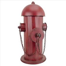 Vintage Look Fire Hydrant Red Metal Garden Sculpture Firemen Medium Statue NEW