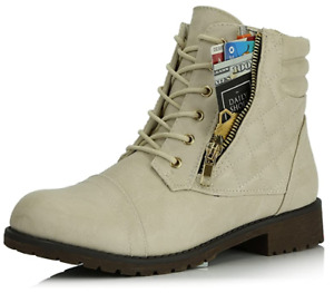 DailyShoes Women's NWB Ankle Boots Combat Bootie Low Heel Lace Up Zippered 8 US