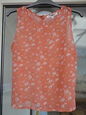 New Ex New Look Peach Ditsy Floral Print Blouse Top Size 8 (No 3)